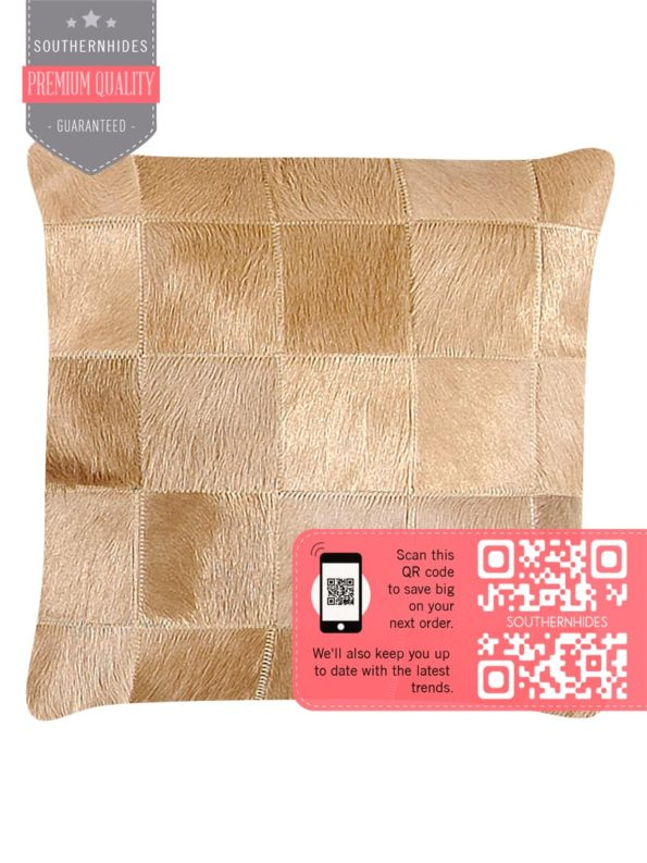 Camel Cowhide Throw Pillow