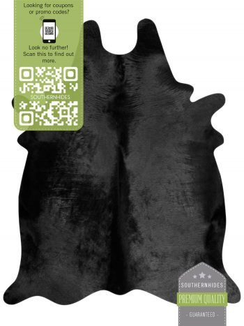 Black Cowhide Rug - Solid Black Cow Hide