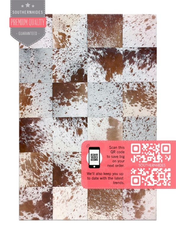 Checkered Cowhide Rug - Checkerboard Design