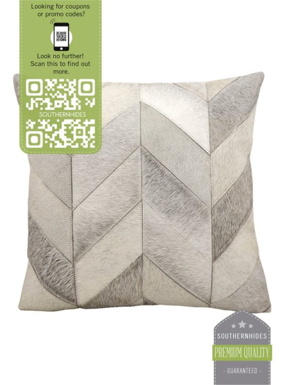 Gray Cowhide Throw Pillow