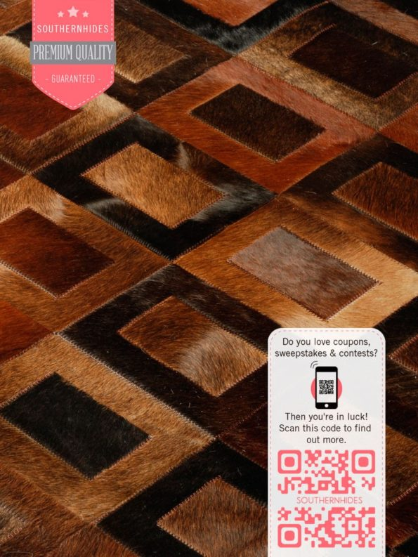 Chocolate Cowhide Patchwork Rug