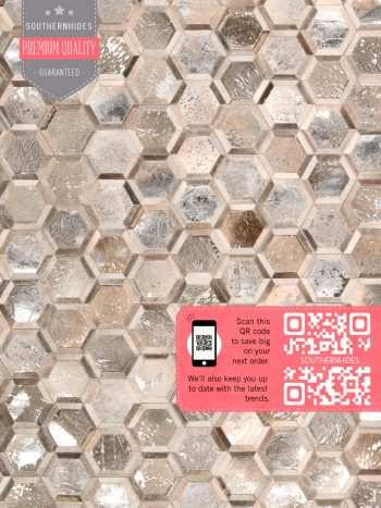Honeycomb Cowhide Rug - Hex Honeycomb Rug