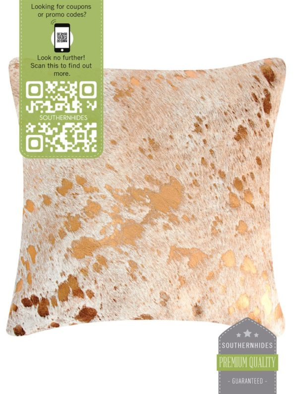 Metallic Copper Cowhide Pillow