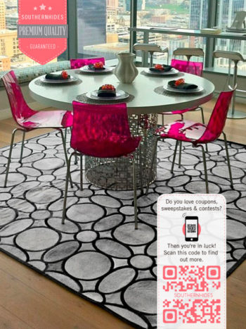 Silver Gray Cowhide Patchwork Rug