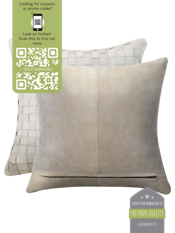 White Hand-Made Cowhide Pillow