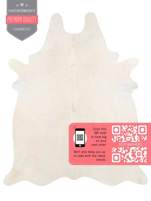 White Cowhide Rug - Solid White Cow Hide