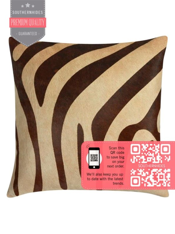 Zebra Print Cowhide Pillow